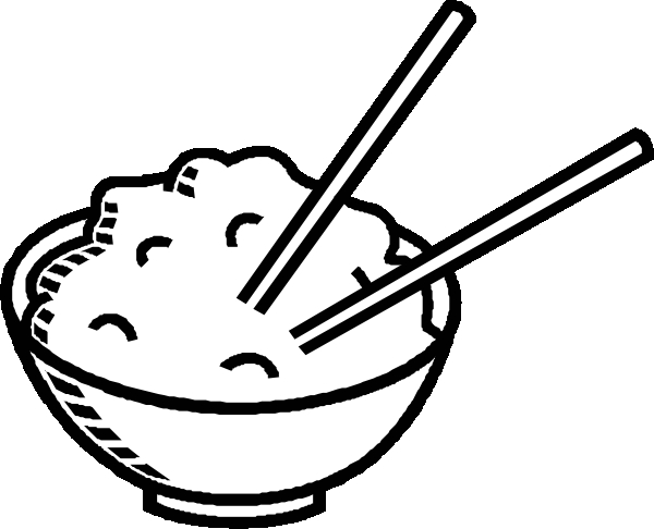 red coloring page - clipart rice bowl black and white