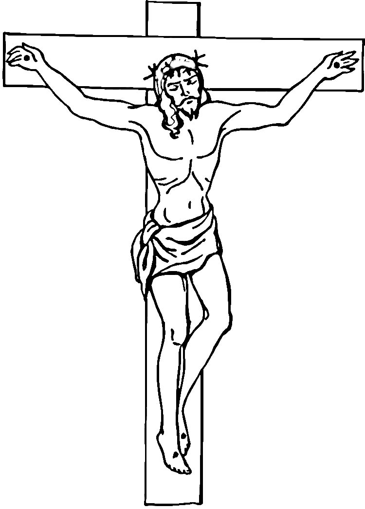 religious easter coloring pages - jesus on the cross cartoon