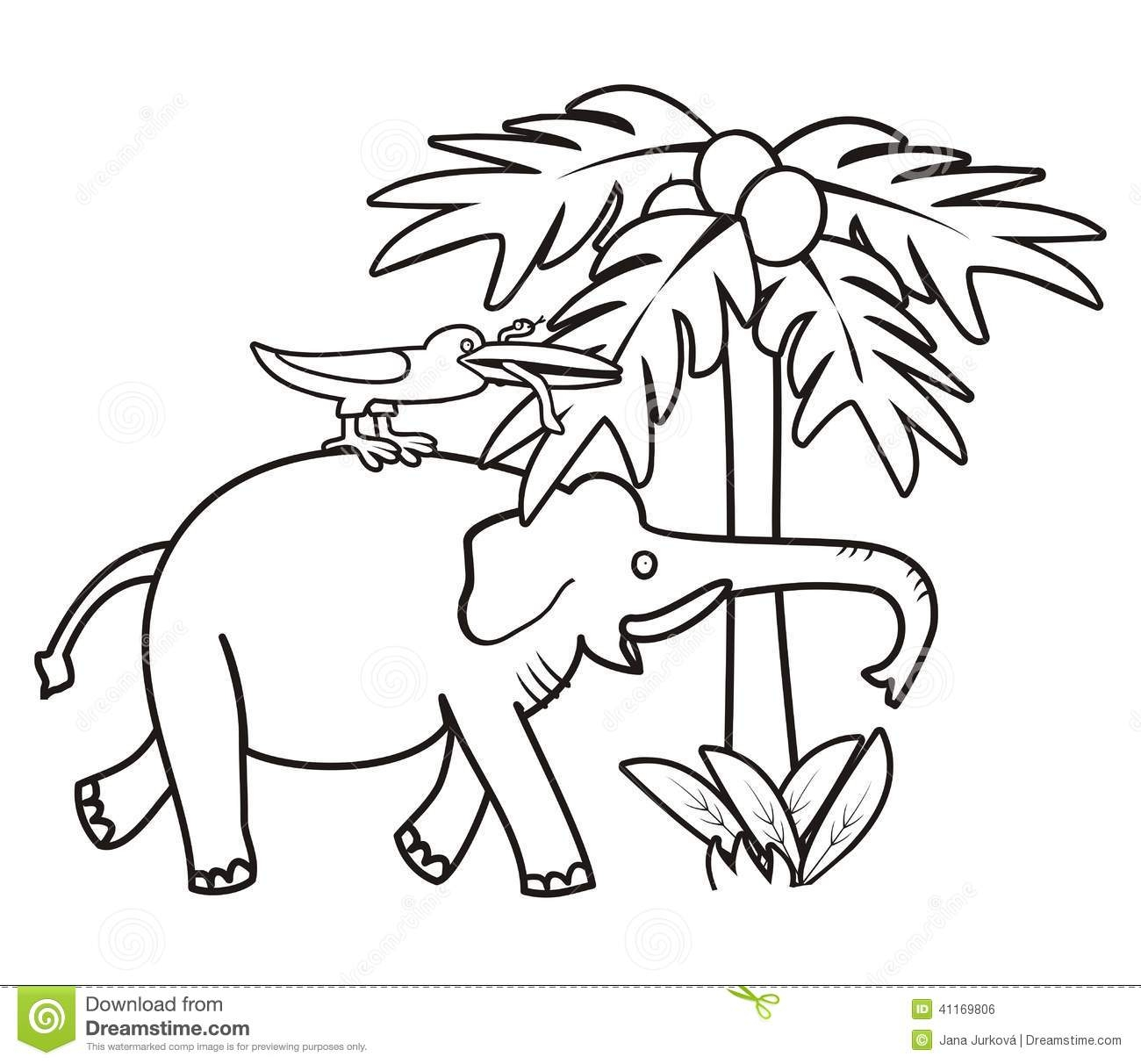 reptile coloring pages - stock illustration elephant bird coloring book kids small snake next to stands palm tree image