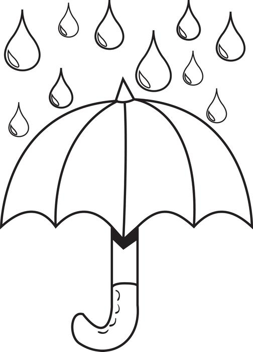 Respect Coloring Pages - Free Printable Umbrella with Raindrops Spring Coloring Page
