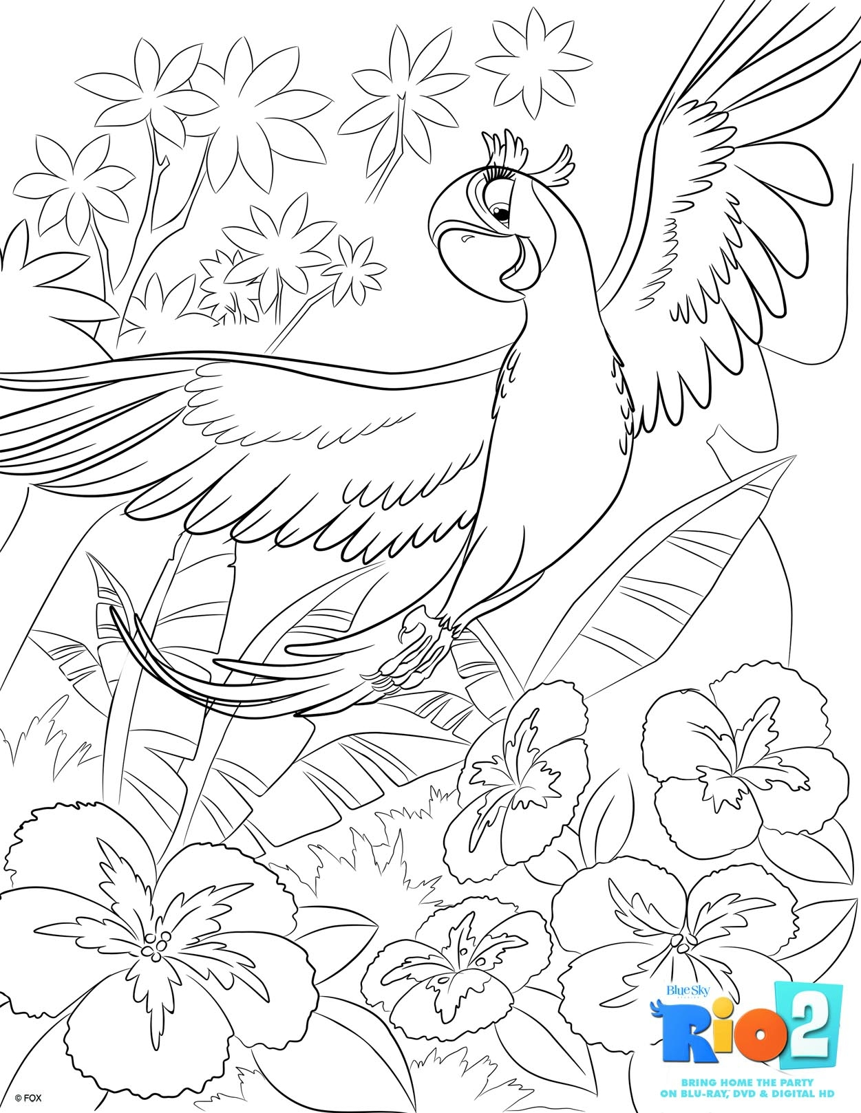 rio coloring pages - r=blue from rio