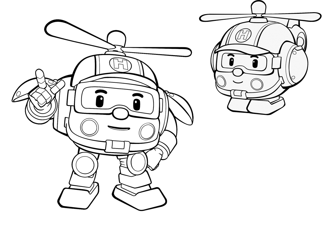 robot coloring pages - personaggi di robocar poli disegni da colorare