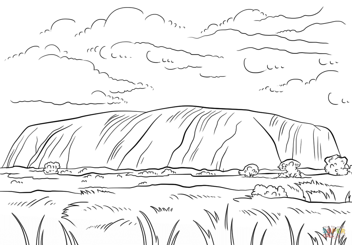 rock coloring pages - uluru ayers rock