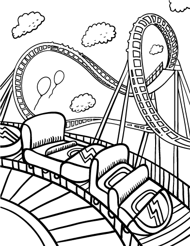 roller coaster coloring pages - paper roller coaster sketch templates