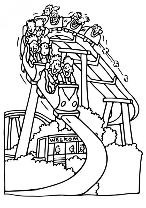 roller coaster coloring pages -