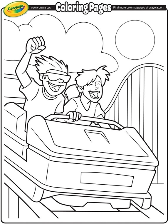 roller coaster coloring pages - roller coaster ride coloring page