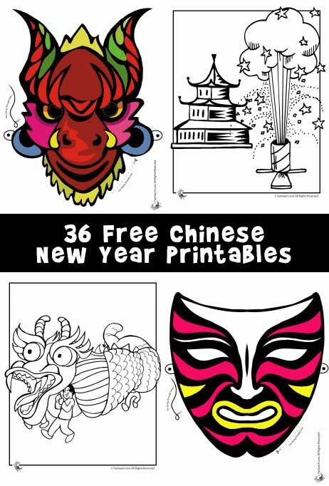 rooster coloring page - chinese new year printable craft dragon animal masks