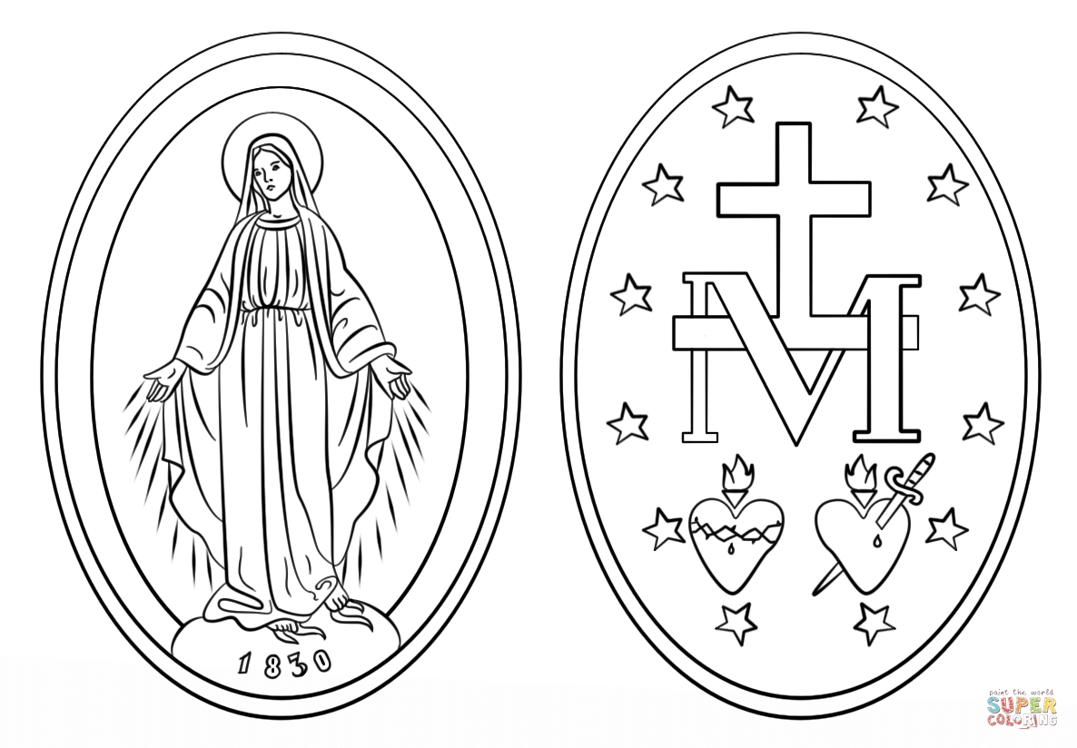 rosary coloring page - miraculous medal