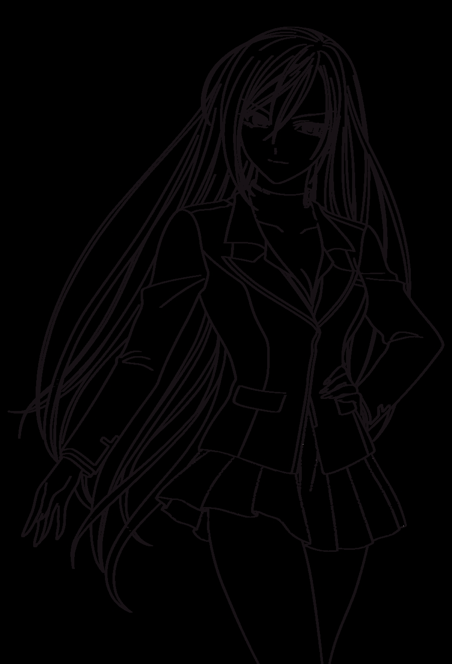 rosary coloring page - Rosario Vampire 1 Lineart