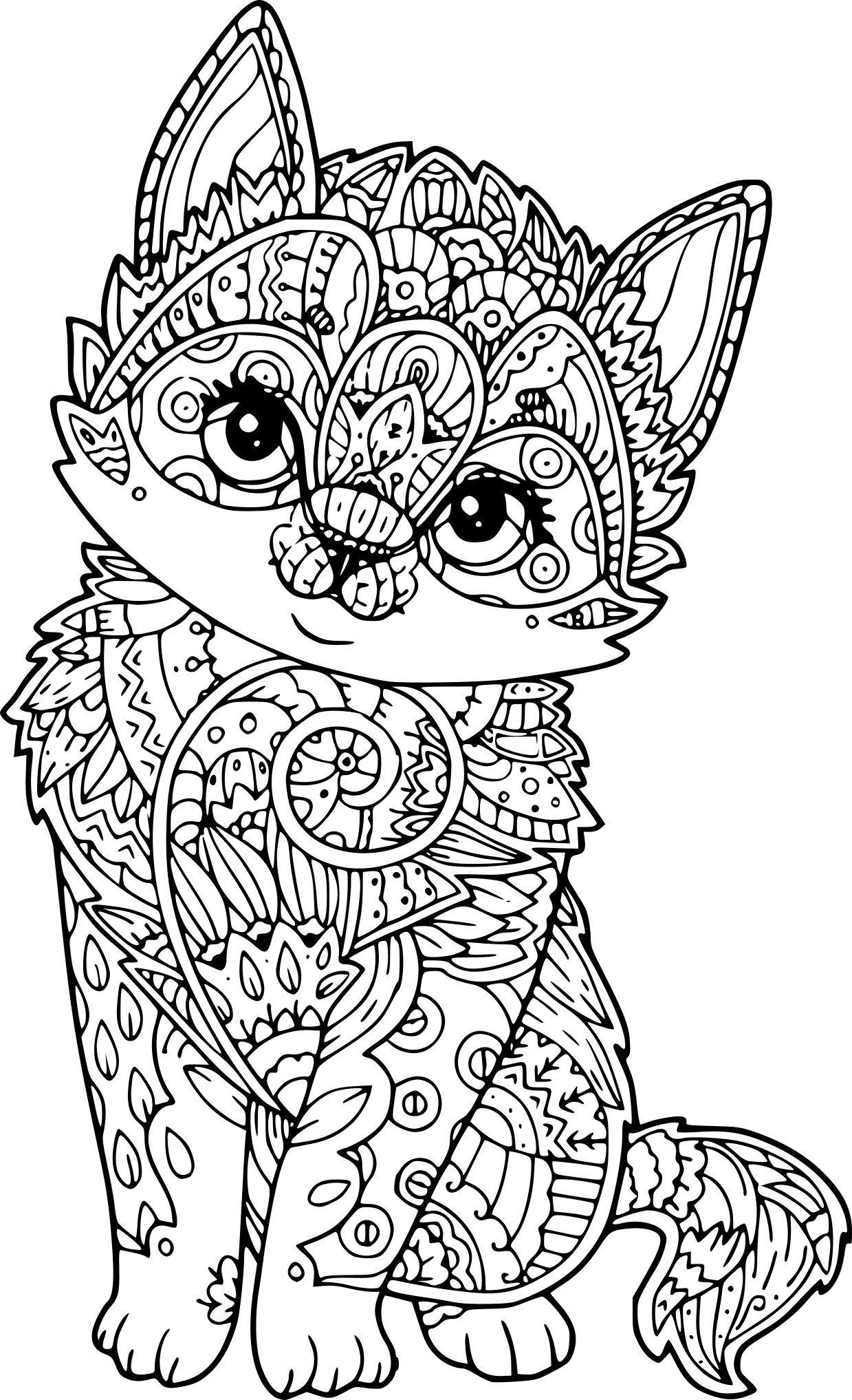 rose coloring pages - chat antistress