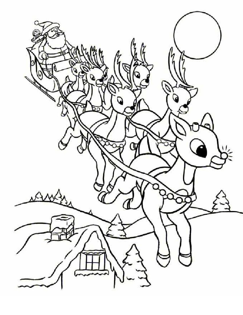 rudolph coloring pages - santa reindeer flying colouring page