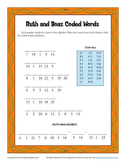 ruth and naomi coloring page - ruth and boaz coded words