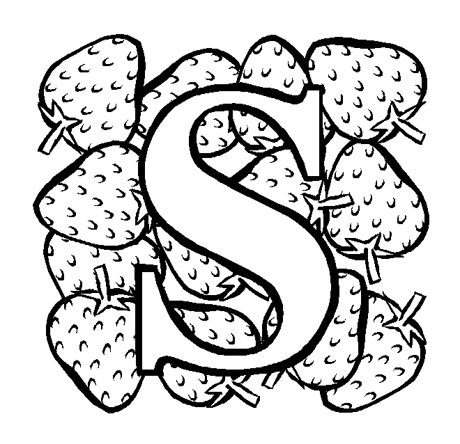 s coloring page - letter s strawberry coloring page