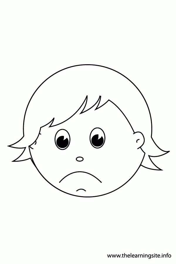sad coloring pages - coloring page of a sad face