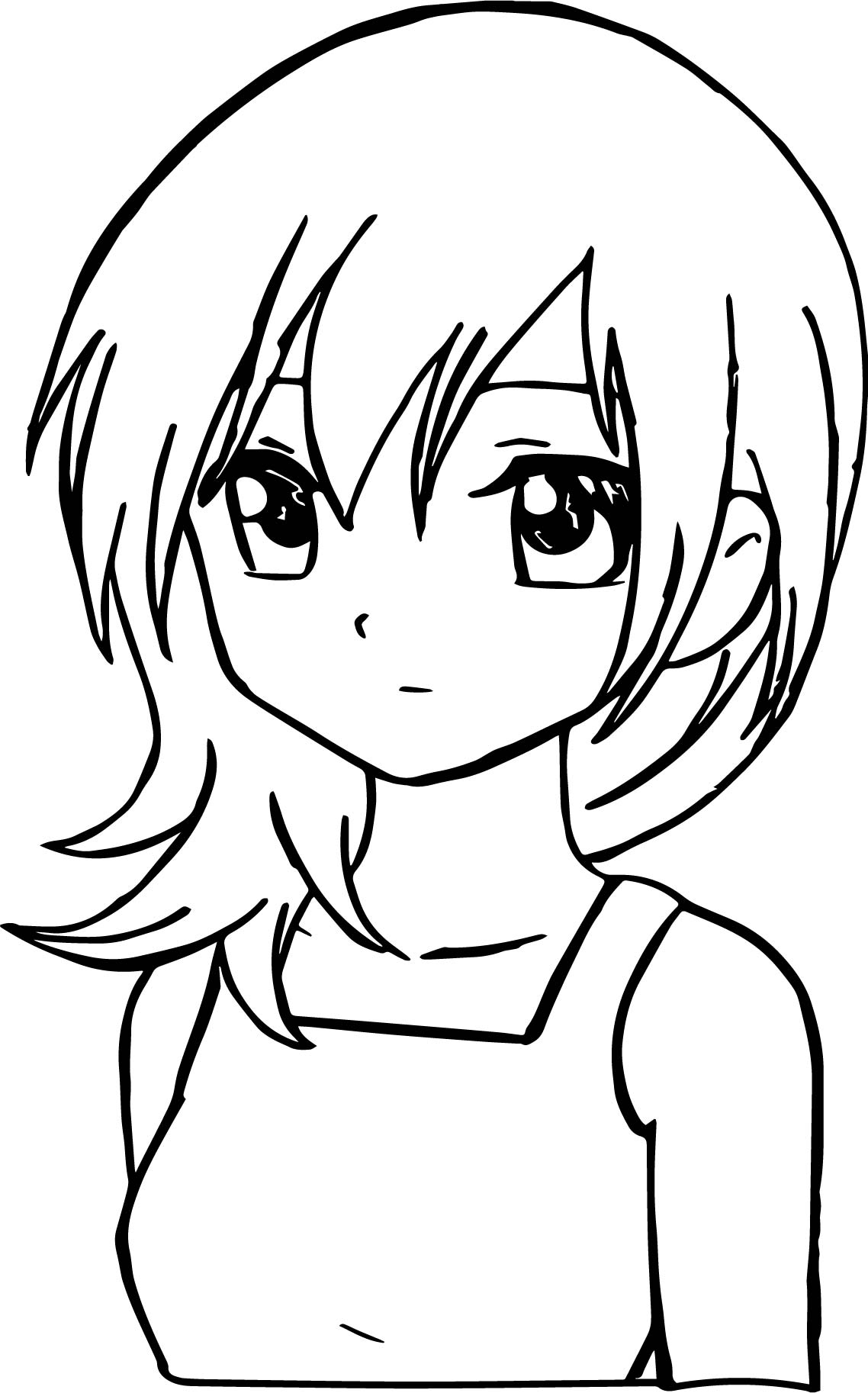sad coloring pages - manga sad girl coloring page