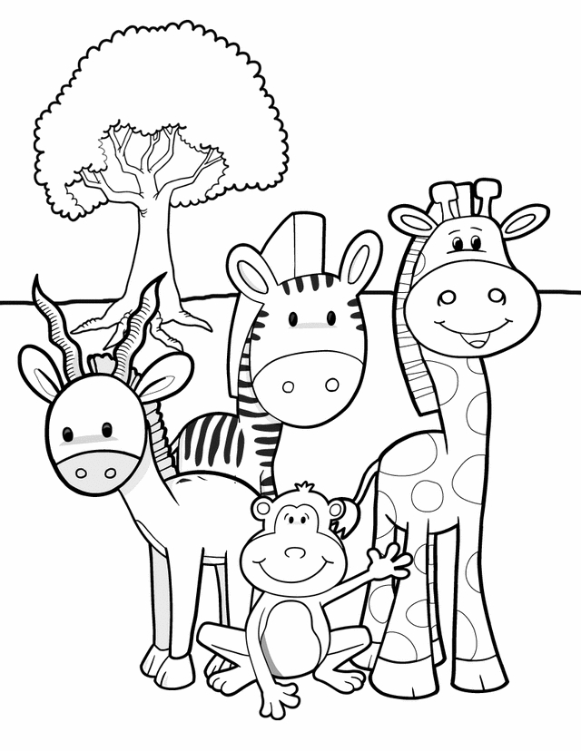 safari coloring pages - safari friends