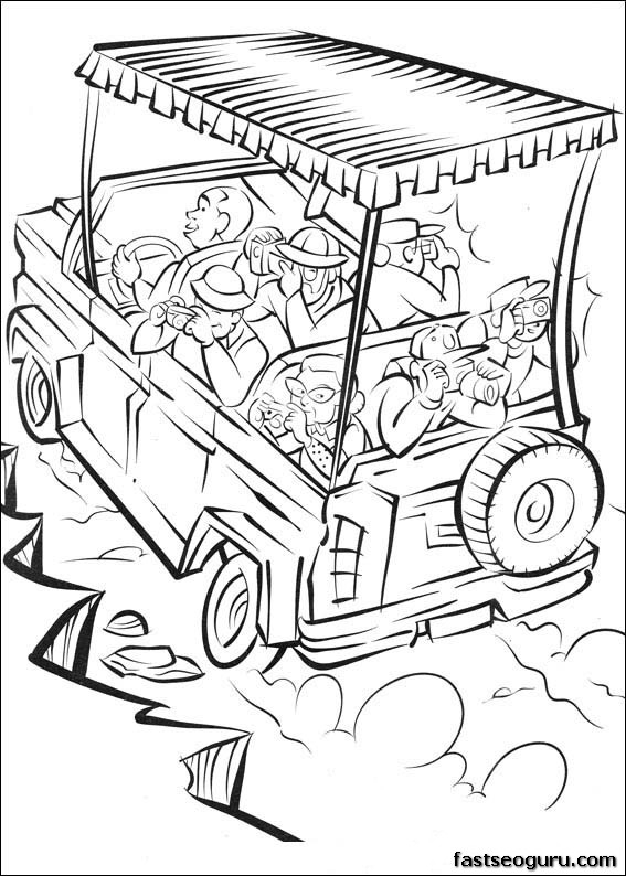 safari coloring pages - print out madagascar 2 safari in africa coloring page