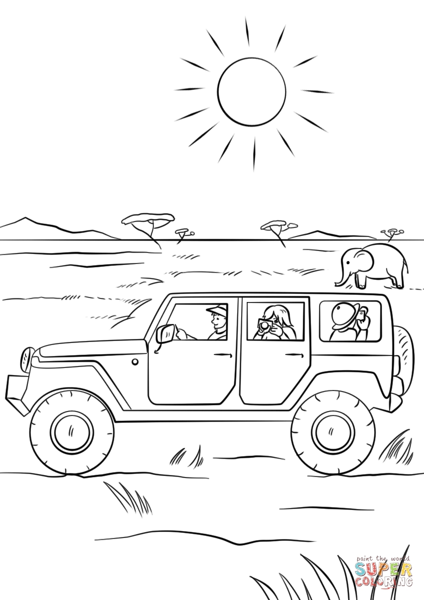 safari coloring pages - safari jeep