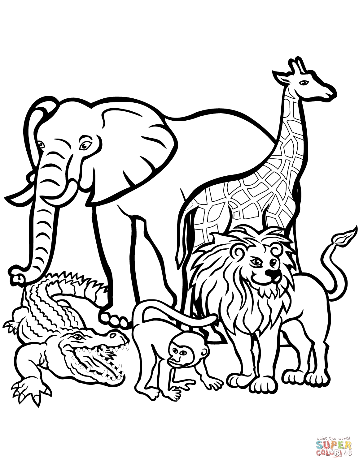 safari coloring pages - wild animal coloring page african giraffe