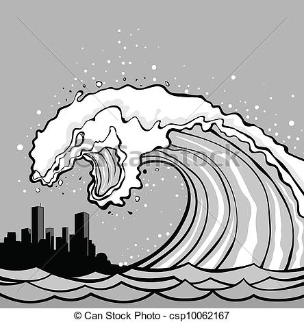 safety coloring pages - tsunami monstruo