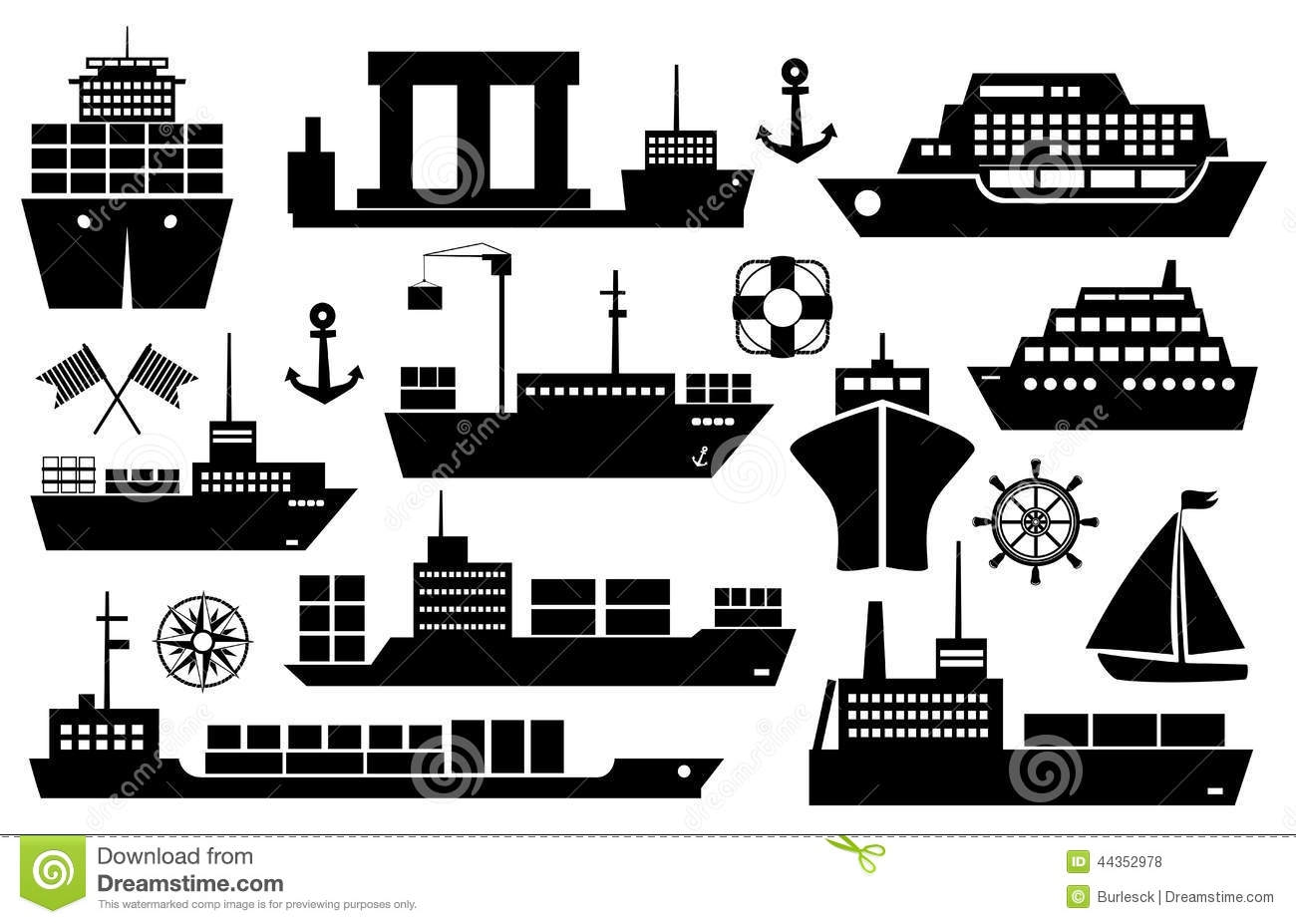 sailboat coloring page - stock illustration set ships boats icons black white silhouette showing passenger lines cruise ship sailboat yacht container ship tanker image