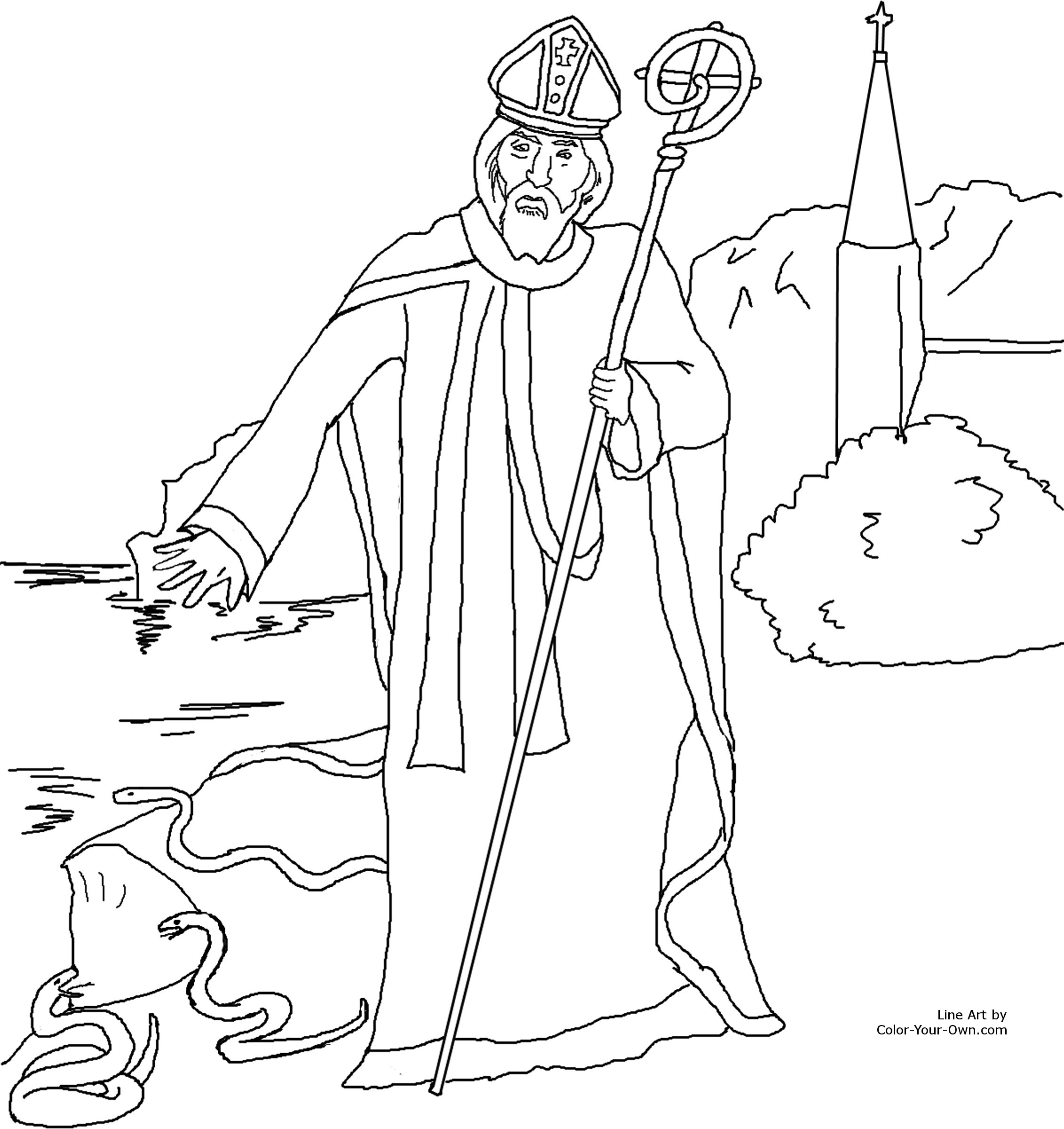 Saint Patrick Coloring Page - Coloring Pages