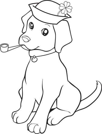 saint patrick coloring page - st patricks day puppy coloring page