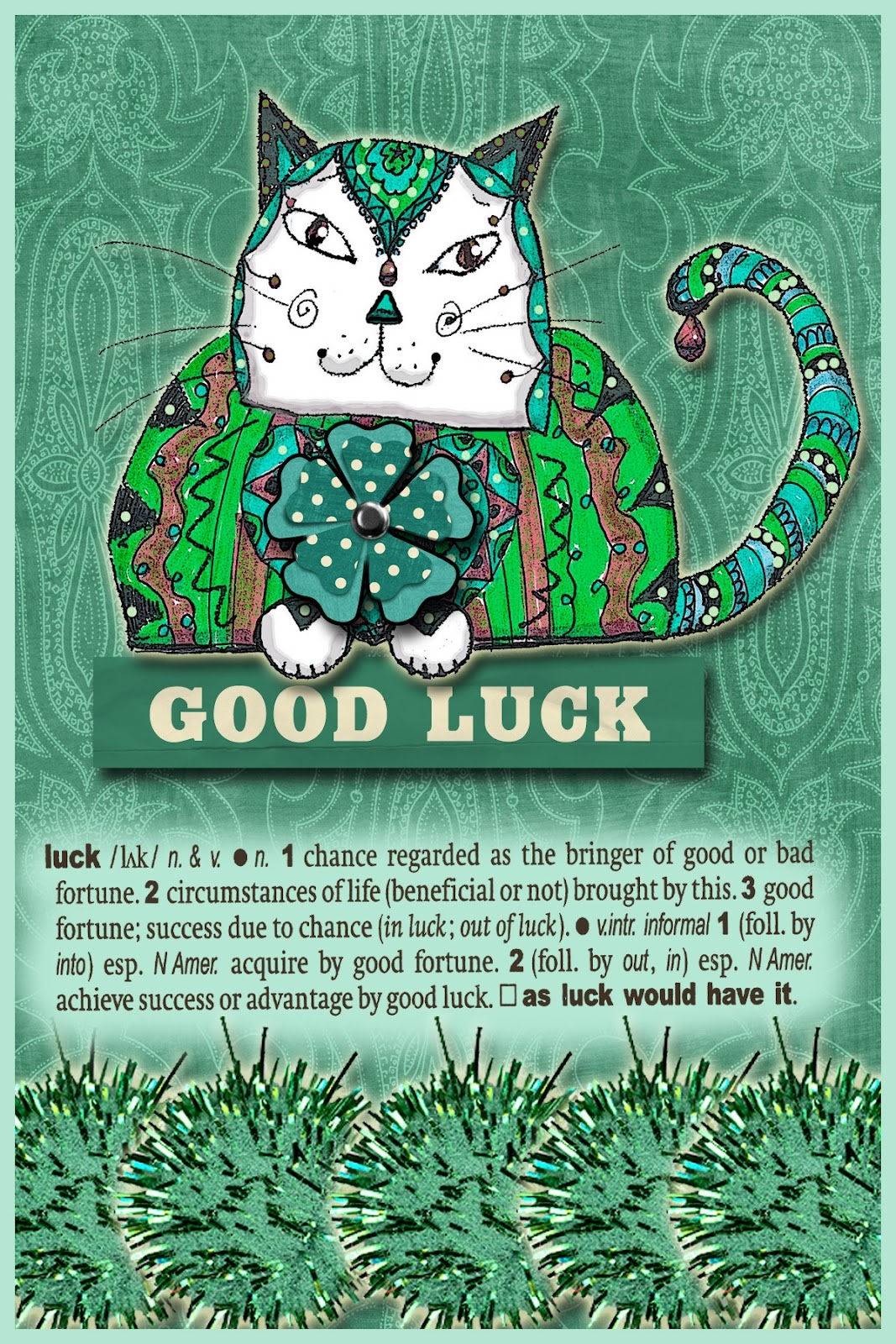 saint patrick's day coloring pages - Another green theme since today is St Patrick s Day Here s my digital collage The cat is my own design the other elements are by Miss Mint