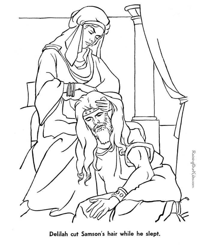 samson coloring page - samson bible coloring pages