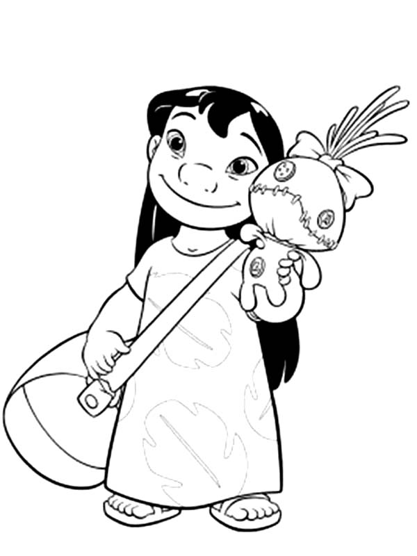 sand castle coloring page - lilo with bag and a doll in lilo stitch coloring page