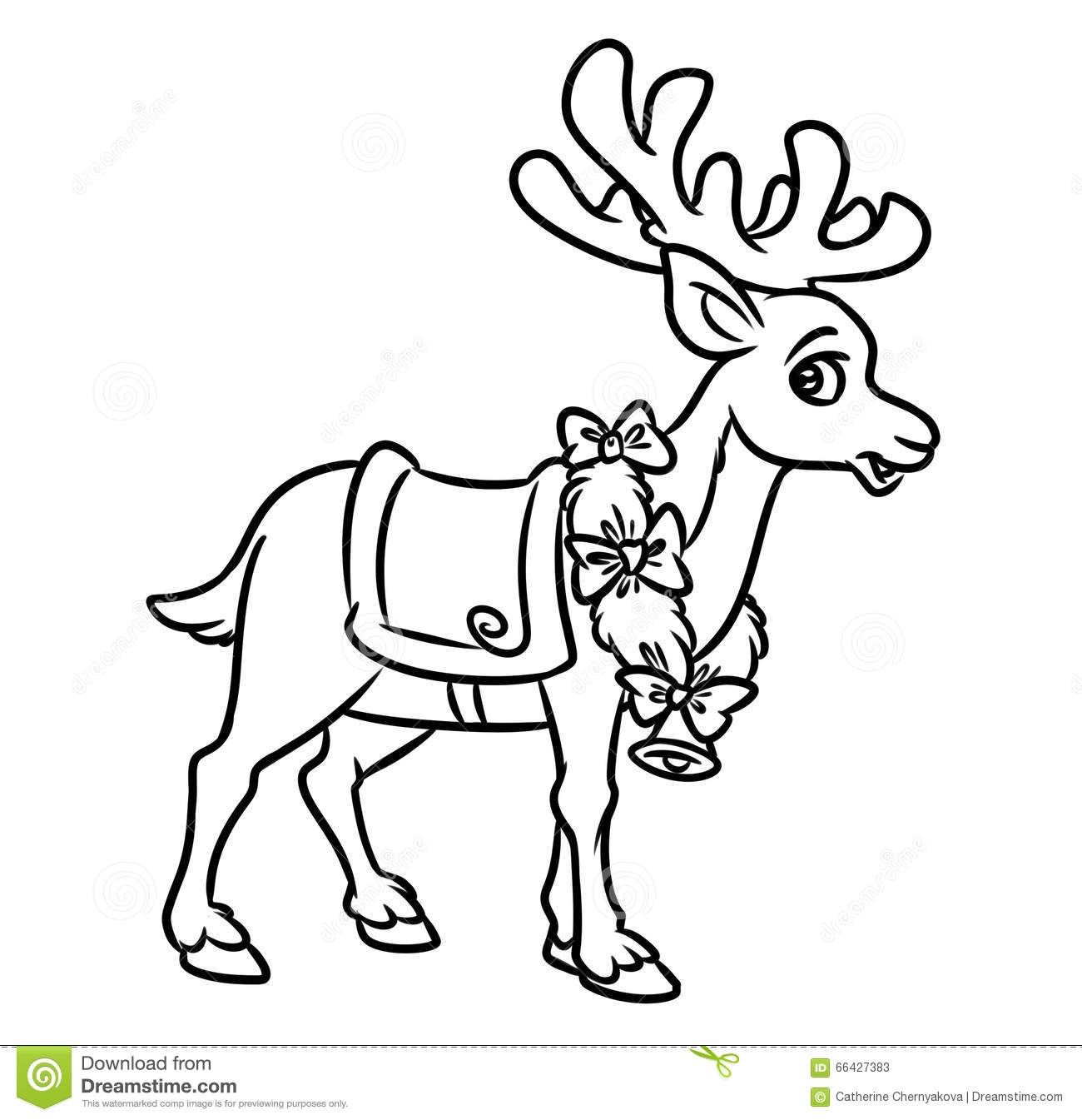 Santa and Reindeer Coloring Pages - Christmas Santa Reindeer Coloring Pages Stock Illustration