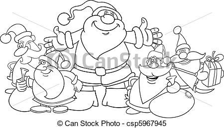santa and reindeer coloring pages - santa clauses grupo colorido