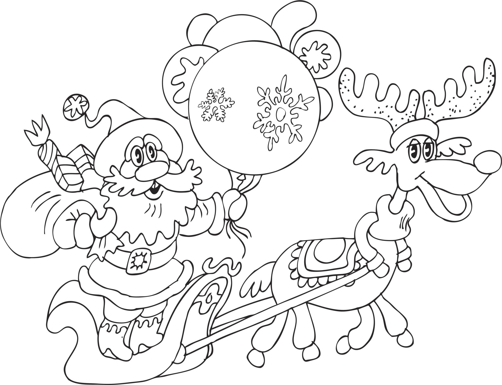 20 Santa and Reindeer Coloring Pages Collections | FREE COLORING ...