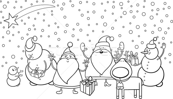 santa and reindeer coloring pages - christmas characters coloring page