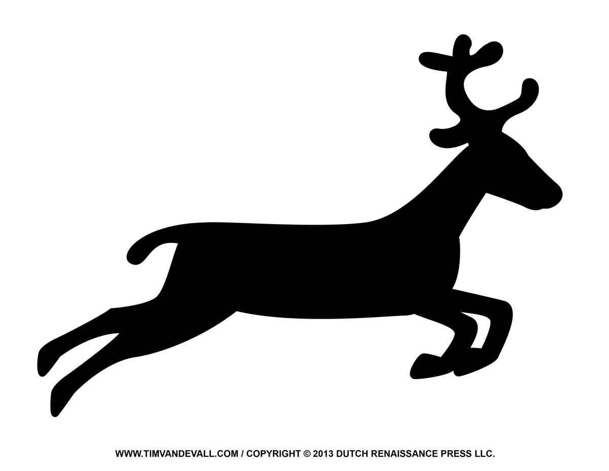 santa and reindeer coloring pages - reindeer silhouette clipart black and white