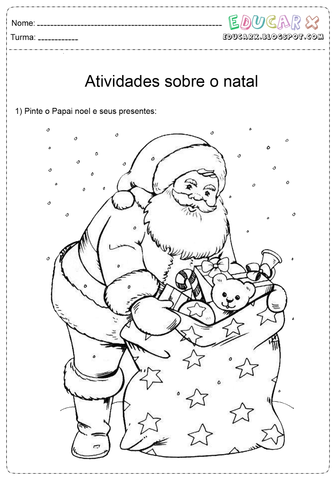 santa claus coloring pages - papai noel para colorir pintar e