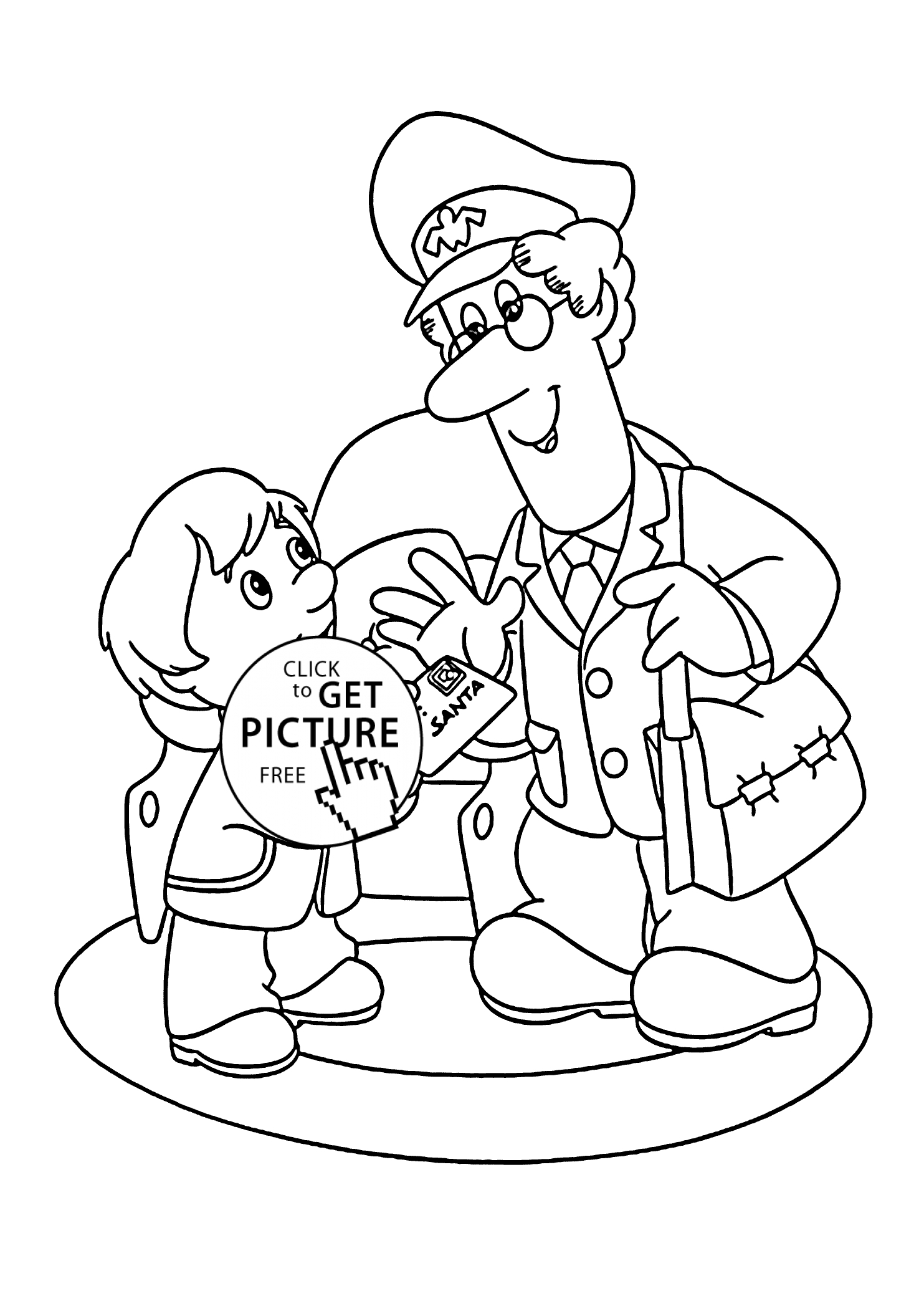 Santa Coloring Pages Printable Free - Postman Pat and Letter to Santa Coloring Pages for Kids