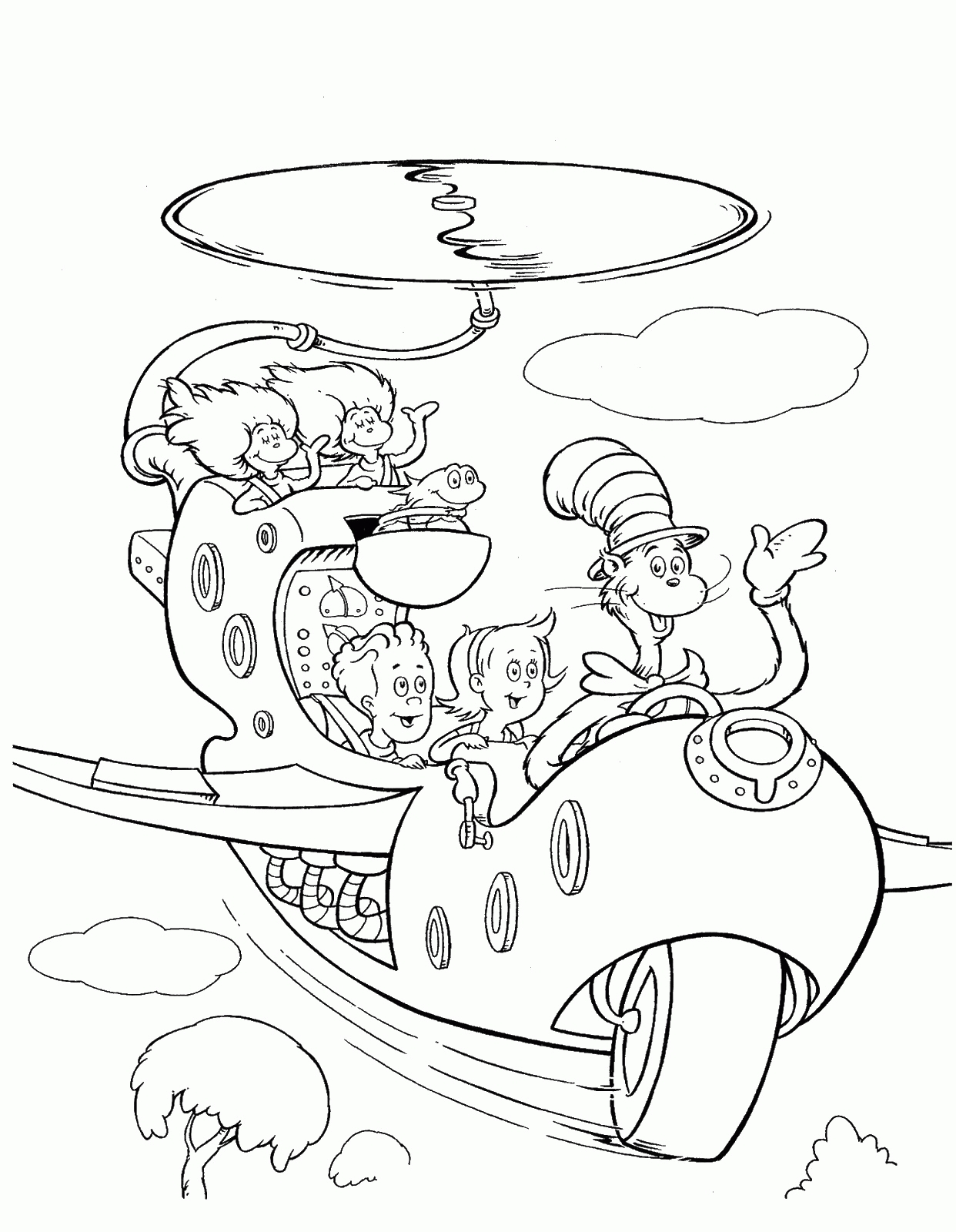 santa coloring pages - cat in the hat coloring pages free printable