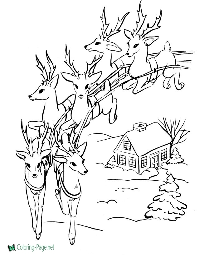 Santa Coloring Pages - Santa and Reindeer Coloring Pages
