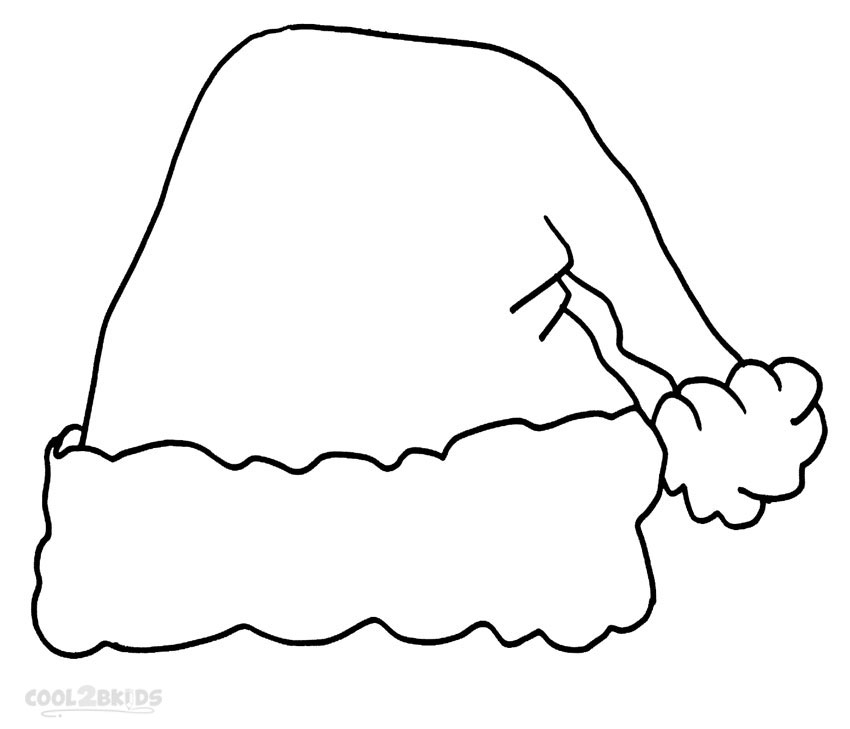 Santa Hat Coloring Page - Printable Santa Hat Coloring Pages for Kids