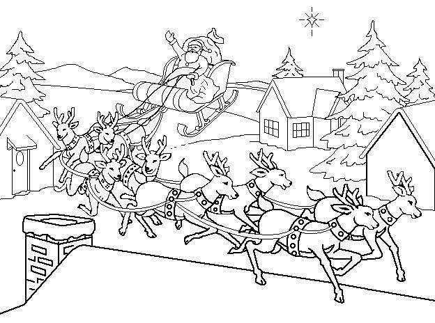 santa sleigh coloring page - hd santa all his reindeer christmas coloring pages