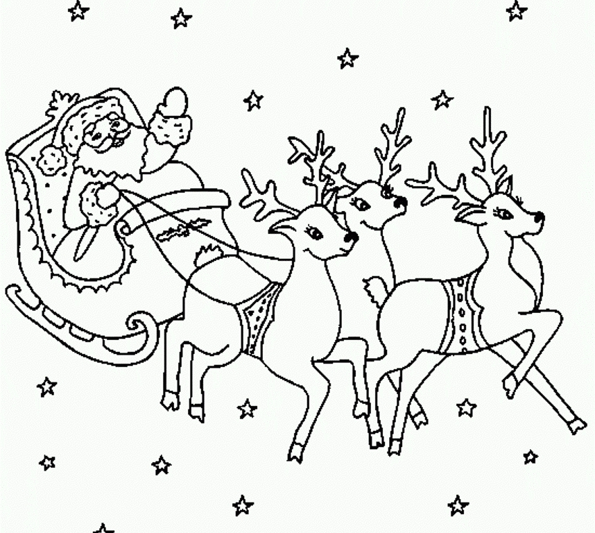 santa sleigh coloring page - santa and his reindeer coloring pages