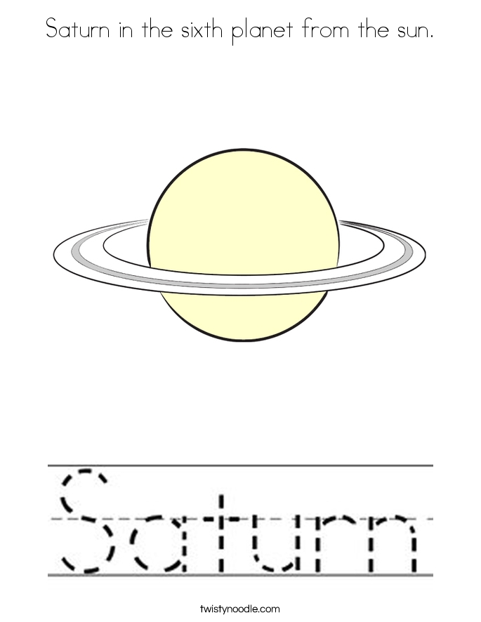 saturn coloring page - saturn in the sixth planet from the sun coloring page