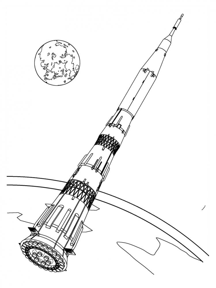 Saturn Coloring Page - Saturn V Coloring Pages