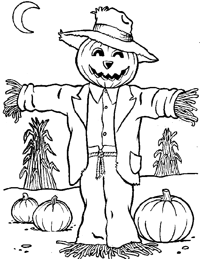 scarecrow coloring page - cute scarecrow coloring pages sketch templates