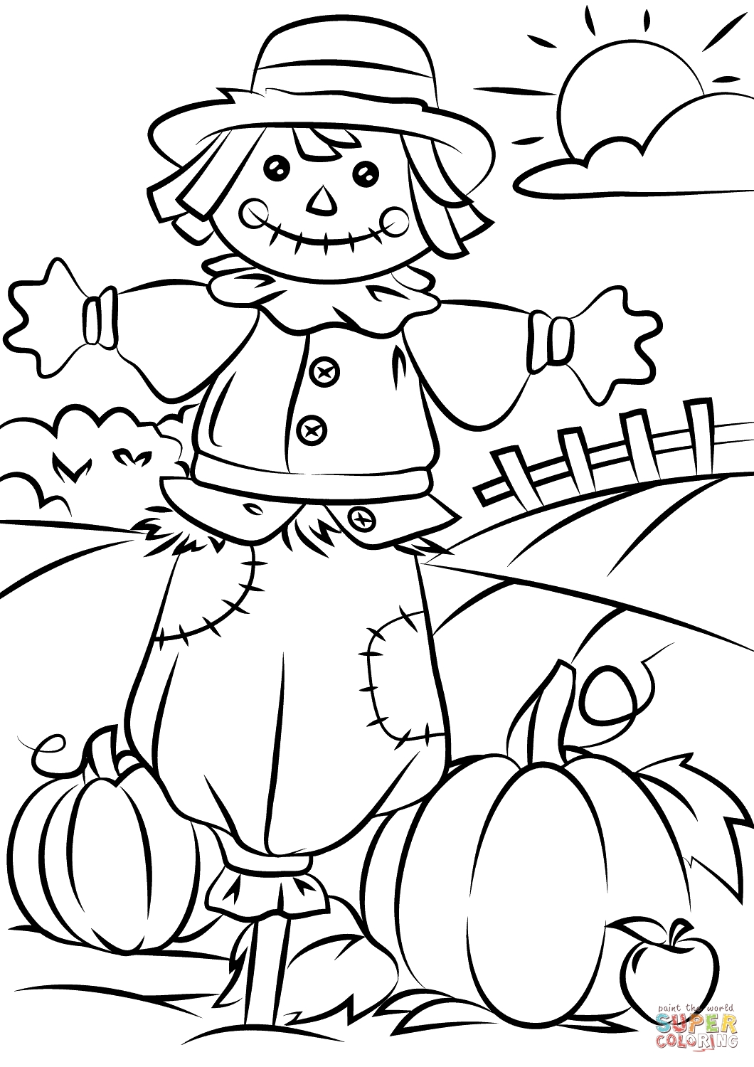 scarecrow coloring page - free scarecrow coloring pages