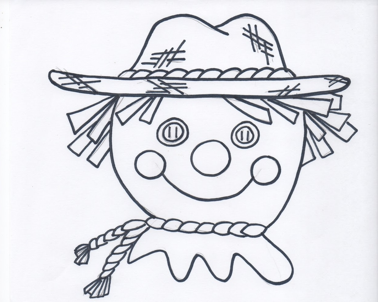 scarecrow coloring page - scarecrow face coloring page
