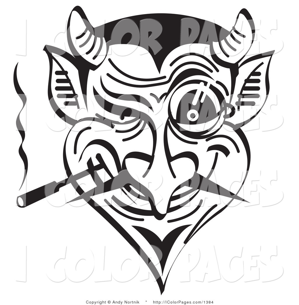 scary clown coloring pages - vector coloring page of a devil smoking and grinning by andy nortnik 1384