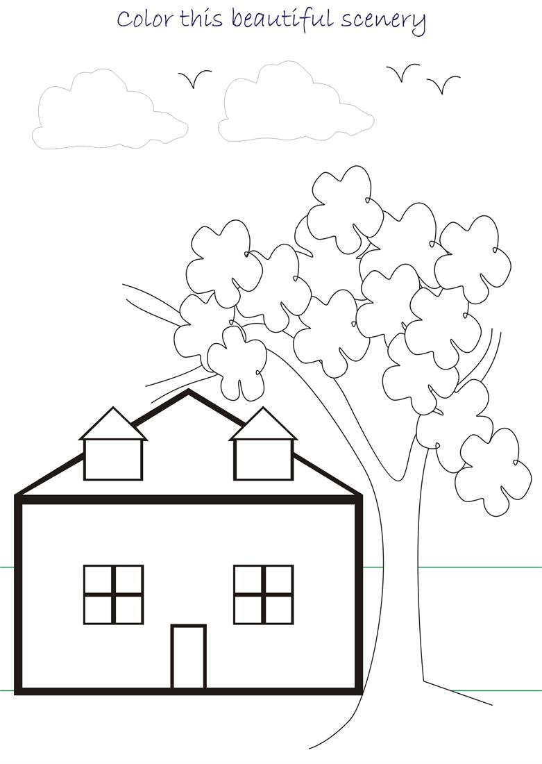 scenery coloring pages - beautiful scenary