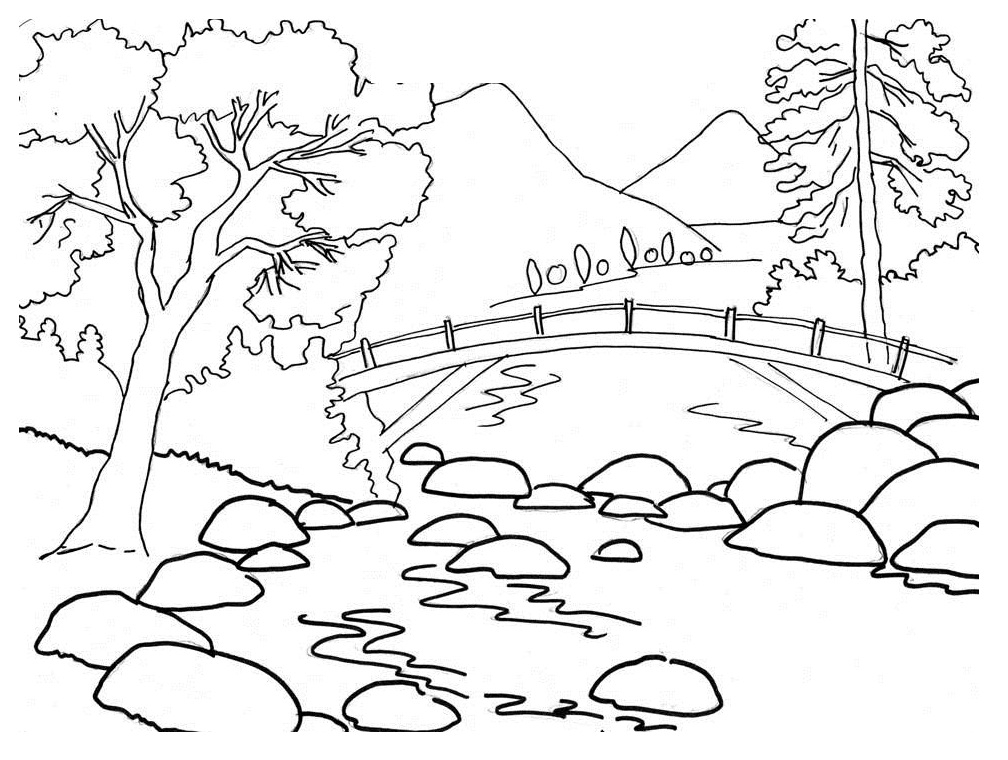 Scenery Coloring Pages - Scenery Coloring Pages Natural Scenery Coloring Pages